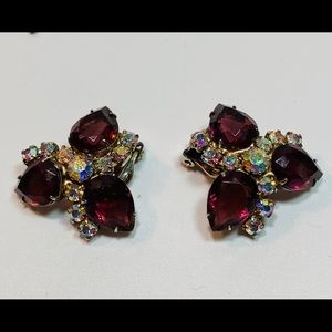1950's deep Plum Rhinestone Cluster Earrings